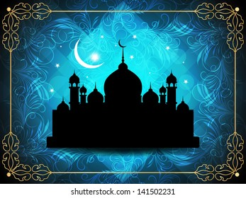 beautiful blue color religious eid background with mosque. vector illustration