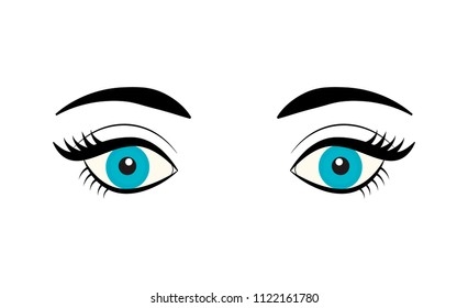 Beautiful blue female eye with eyelashes and eyebrows isolated on white background. Flat style logo. Cartoon eyes icon. Vector illustration for beauty salons, cosmetic shops, makeup artists etc.