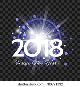 Beautiful blue fireworks with a bright flash of light and the words Happy New Year 2018 on a transparent background