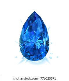 Beautiful blue gem sapphire isolated on white background. Vector illustration.
