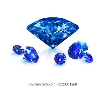 Beautiful blue gems sapphire isolated on white background. Vector illustration.