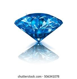 Beautiful blue gemstone sapphire on white background. Vector illustration.