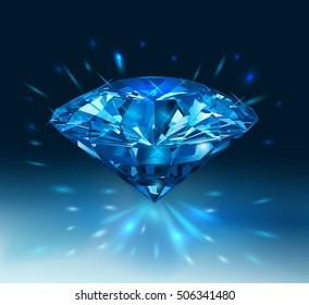 Beautiful blue gemstone sapphire on a dark blue background. Vector illustration.