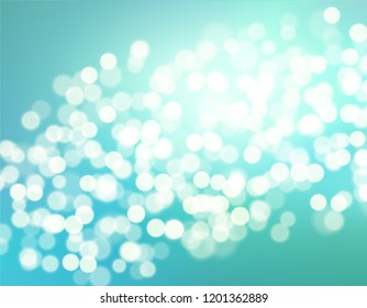 Beautiful Blue gradient teal background bokeh effect. Blurred winter backdrop. Vector illustration for your graphic design, banner, poster, christmas card