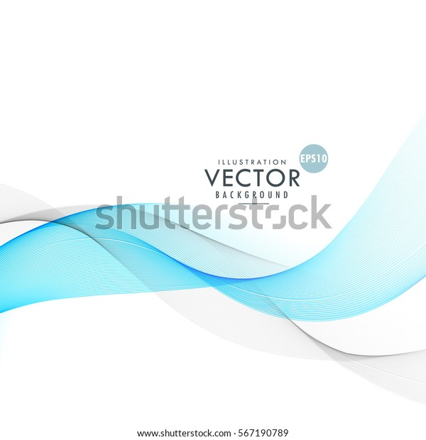 Beautiful Blue Gray Waves Blending On Stock Vector Royalty