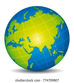Beautiful blue and green 3d vector globe. Focus on Asia, Russia, China and India.