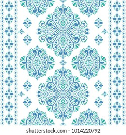 Beautiful blue and green floral seamless pattern. Vintage. Traditional, Ethnic, Turkish, Indian motifs. Great for fabric and textile, wallpaper, packaging or any desired idea.