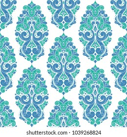 Beautiful blue and green floral seamless pattern. Vintage, paisley elements. Traditional, Ethnic, Turkish, Indian motifs. Great for fabric and textile, wallpaper, packaging or any desired idea.