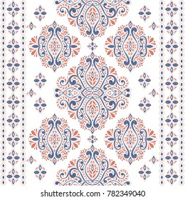 Beautiful blue and orange floral seamless pattern. Vintage, paisley elements. Traditional, Ethnic, Turkish, Indian motifs. Great for fabric and textile, wallpaper, packaging or any desired idea.