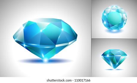 Beautiful blue sapphire diamond (vector set)