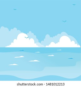 Beautiful Blue Sea view scenery with blue sky illustration - Vector