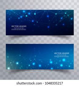 Beautiful blue technology polygona banners set design