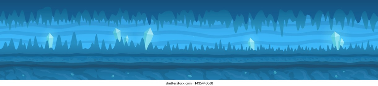 Beautiful blue unending cold icy cave with white shiny crystals and the road