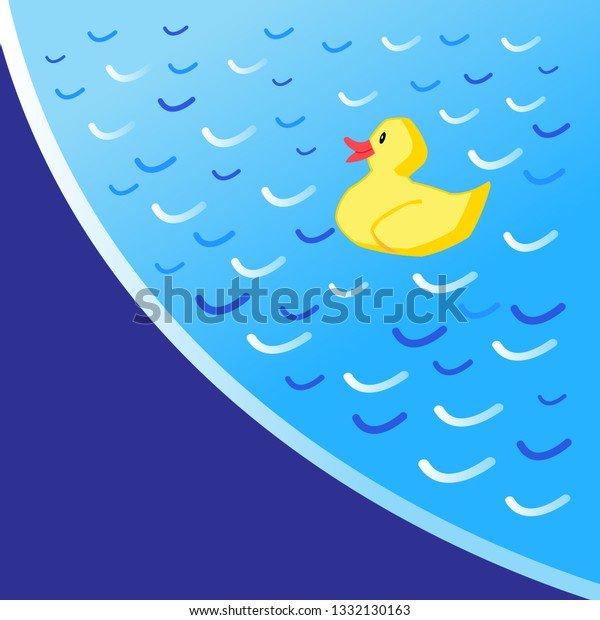 Beautiful blue vector pool background with a yellow duckling toy