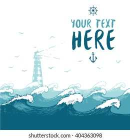 Beautiful blue waves with lighthouse and birds, summer sea banner with place for your text