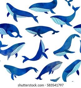 Beautiful blue whales seamless pattern