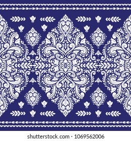 Beautiful blue and white floral seamless pattern. Vintage, paisley elements. Traditional, Ethnic, Turkish, Indian motifs. Great for fabric and textile, wallpaper, packaging or any desired idea.