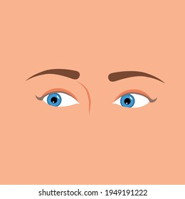 Beautiful blue woman's eyes looking right side. isolated on skin background. Vector Illustration. emotions expression. Pretty blue female eyes glance. Emotions expression with eyes.