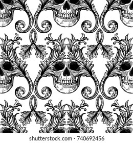 Beautiful bohemian damask seamless ornament. Baroque tattoo style pattern with skull. Vintage ornate vector wallpaper, decorative vector art.