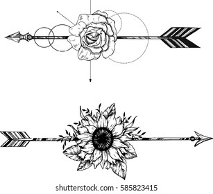 Beautiful boho elements .arrows, feathers and flowers