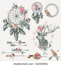 Beautiful bo-ho elements collection. Deer, arrows, dreamcatcher, feathers and flowers with tapes for design