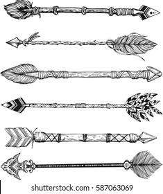 Beautiful boho elements . tribal arrows, bull skull, feathers