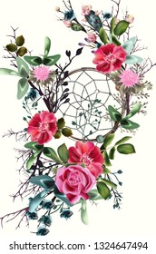 Beautiful boho illustration with dreamcatcher, clover flowers, roses and cactuses for save the date cards or wedding design