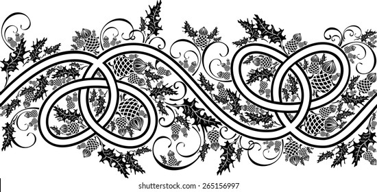 beautiful border with celtic ornament and flowers thistle black and white