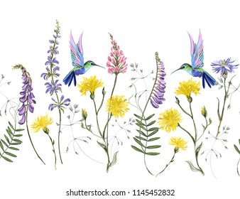 Beautiful botanical floral meadow background with hand drawn flowers hummingbirds for textile, fabric, covers, wallpapers, print, gift wrap and scrapbook in watercolor stile.