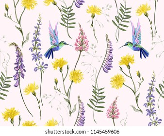 Beautiful botanical floral meadow background with hand drawn flowers hummingbirds for textile, fabric, covers, wallpapers, print, gift wrap,scrapbook in watercolor stile. Isolated on white background.