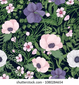 Beautiful botanical pattern with wild blooming flowers and flowering herbs on black background. Natural backdrop with meadow wildflowers. Gorgeous floral vector illustration in vintage antique style