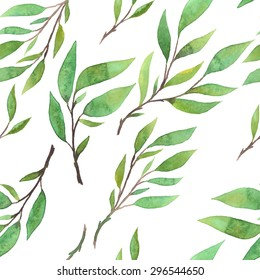 beautiful botanical seamless pattern - watercolor hand drawn branches and green leaves on white background - vector illustration