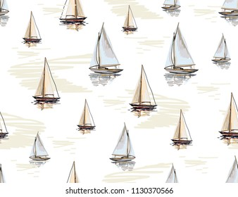 Beautiful botanical vector seamless pattern background with the  ocean,  sailboat silhouettes. Isolated on white background. The Summer beach surfing illustration.