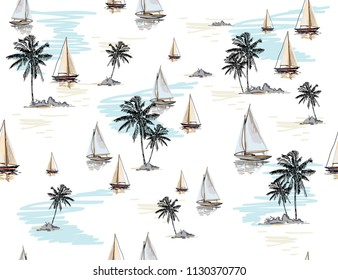 Beautiful botanical vector seamless pattern background with coconut palm trees, sailboat silhouettes. Isolated on white background. The Summer beach surfing illustration.