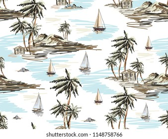 Beautiful botanical vector seamless pattern background with coconut palm trees, sailboat silhouettes, mountains. Isolated on white background.