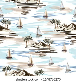 Beautiful botanical vector seamless pattern background with coconut palm trees, sailboat silhouettes, mountains. Isolated on white background