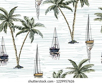 Beautiful botanical vector seamless pattern background with coconut palm trees, sailboat silhouettes, mountains. Isolated on white background. The Summer beach surfing illustration.