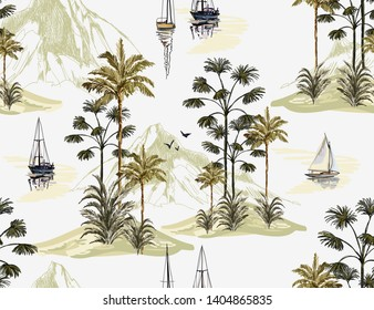 Beautiful botanical vector seamless pattern background with coconut palm trees, sailboat silhouettes and mountains. Isolated on white background. The Summer beach surfing illustration.