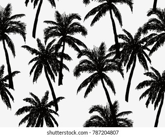 Beautiful  botanical vector seamless pattern background with palm trees silhouettes. Isolated on white background.