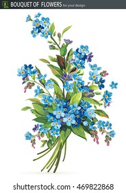 Beautiful bouquet of blossoming Forget-me-not flower, isolated on white background, eps8