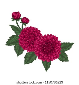 beautiful bouquet dahlias with the effect of a watercolor drawing isolated on background. design greeting card and invitation of the wedding, birthday, Valentine s Day, mother s day and other holiday.