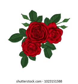 beautiful bouquet with red roses and leaves. Floral arrangement. design greeting card and invitation of the wedding, birthday, Valentine s Day, mother s day and other holiday.