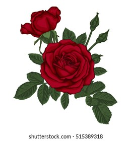beautiful bouquet with red roses and leaves. Floral arrangement. design greeting card and invitation of the wedding, birthday, Valentine's Day, mother's day and other holiday