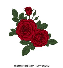 beautiful bouquet with red roses and leaves. Floral arrangement. design greeting card and invitation of the wedding, birthday, Valentine's Day, mother's day and other holiday.