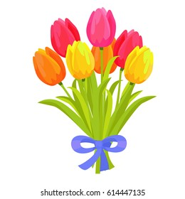 Beautiful bouquet of seven multicolored tulips flat design on white background. Spring flowers with long green leaves decorated blue bow. Vector illustration hand drawn pattern graphic icon.