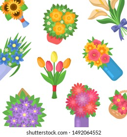 Beautiful bouquet of spring flowers bouquets vector pattern illustration. Cartoon multicolored tulips, camomile and spring flowers on white background.