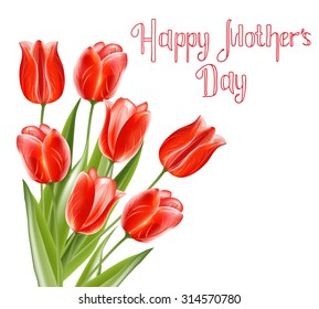 Beautiful bouquet of tulips and Happy Mothers Day celebration card. Vector Mothers Day Vintage lettering background for your design. Suitable for various designs, invitation and scrapbook.