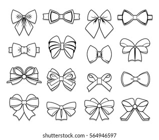 Beautiful bows elements collection of different shapes in outline style on white background isolated vector illustration