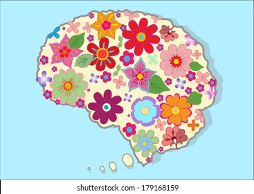 Beautiful brain with  nice colored flowers
