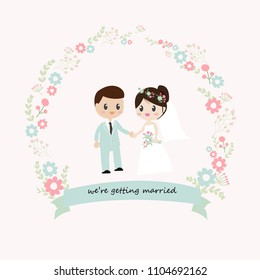 beautiful bride and groom couple in wedding dress holding hands in spring blooming flower wreath on light pink background isolated EPS10 vector illustration